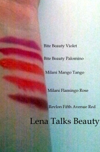 Arm swatches for Bite Beauty Violet and Palomino, Milani Mango Tango, Milani Flamingo Rose and Revlon Fifth Avenue Red