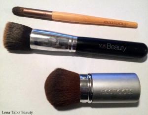 Ecotools concealer brush, XO Beauty foundation Brush, Ecotools kabuki brush
