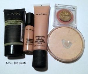 NYX primer, MAC pro longwear concealer, MAC studio sculpt foundation, Napoleon Perdis blush, Rimmel Powder