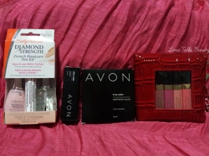 Left to right Sally Hansen Diamond Strength French Manicure Pen Kit Ballet Bare, Avon Ultra Color Rich Lipstick - Very Violet, Avon True Colour Eyeshadow Quads - Romantic Mauves, Avon True Colour Eyeshadow Quads - Romantic Mauves.