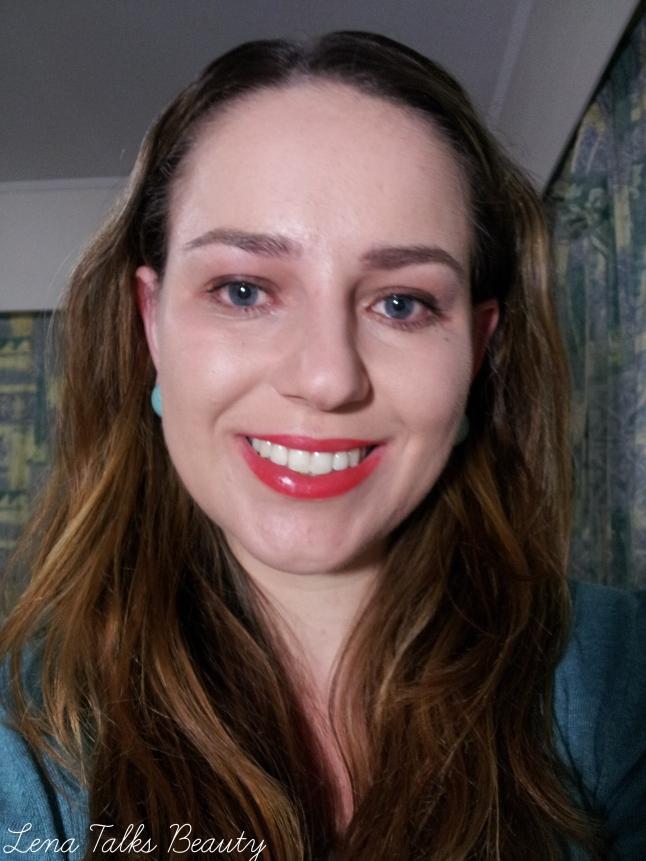 Photo of me wearing Karen Murell Rymba Rhythm lipstick