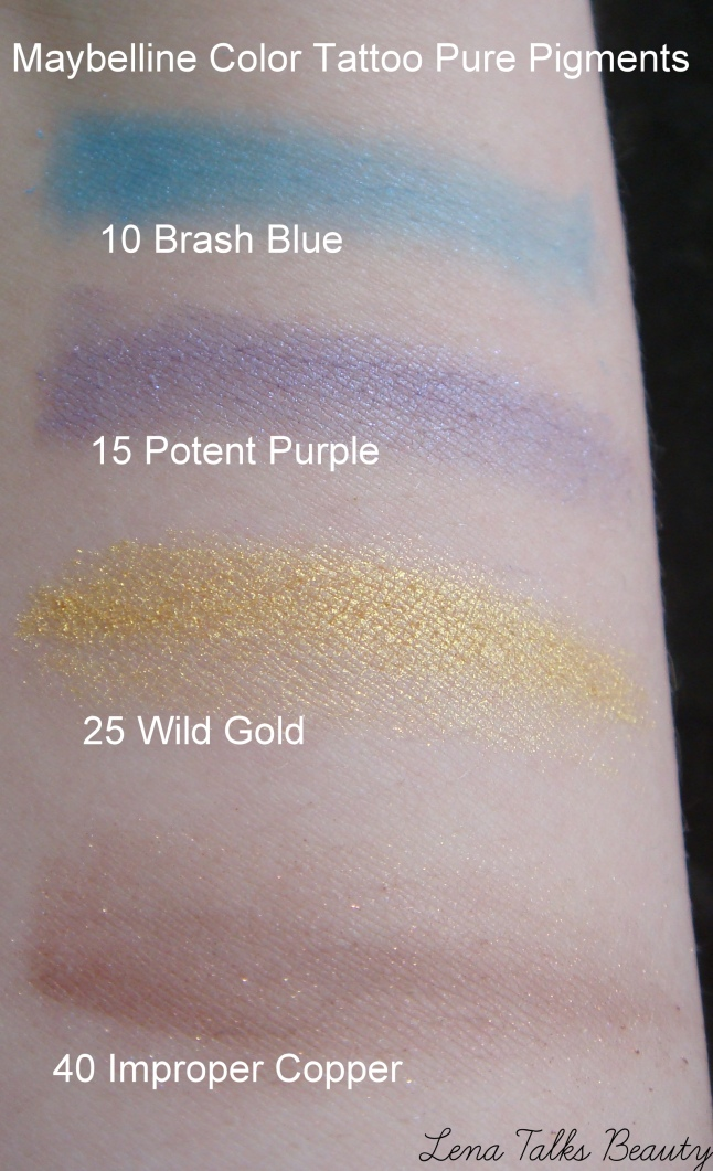 Maybelline Color Tattoo Pure Pigments swatches Top to bottom, 10 Brash Blue, 15 Potent Purple, 25 Wild Gold, 40 Improper Copper