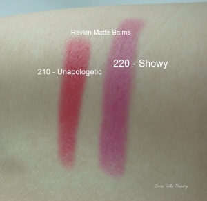 Swatches - Unapologetic, left, and showy, right