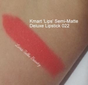 Wrist swatch Kmart Lips Semi-Matte Deluxe Lipstick 022