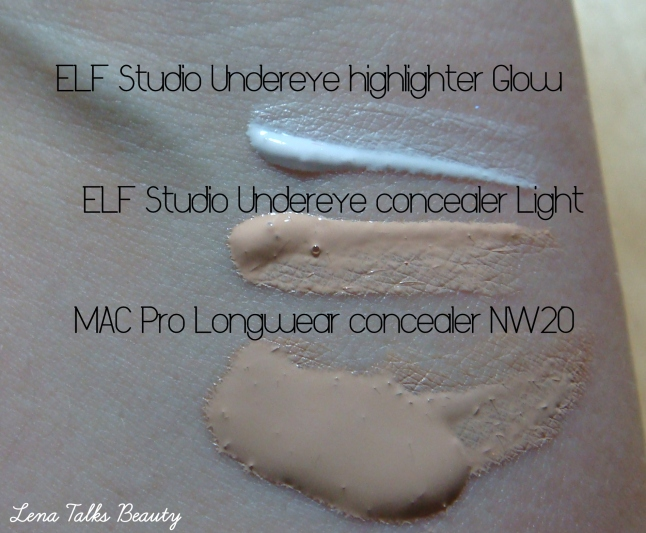 ELF Studio concealer and undereye highlighter swatch