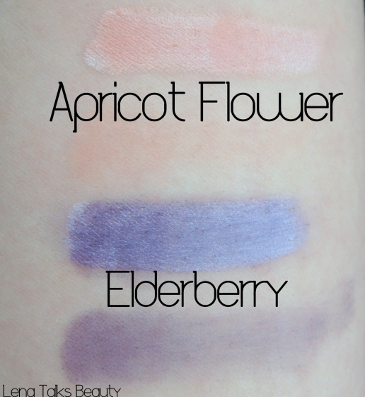 Sigma Apricot Flower and Elderberry swatches
