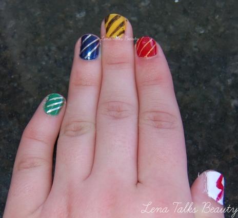 Slytherin, Ravenclaw, Hufflepuff and Gryffindor Hogwarts manicure